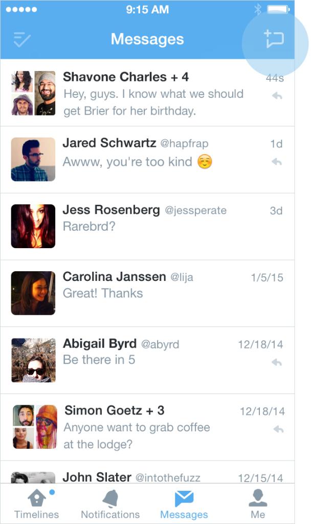 Twitter group message screenshot