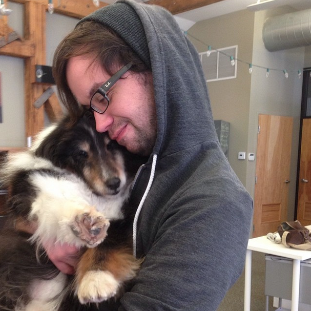 One Columbus digital marketing agency allows dogs in their workplace to boost productivity and moods. This is Ben and employee Scott.